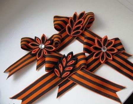 Цветы из георгиевской ленты